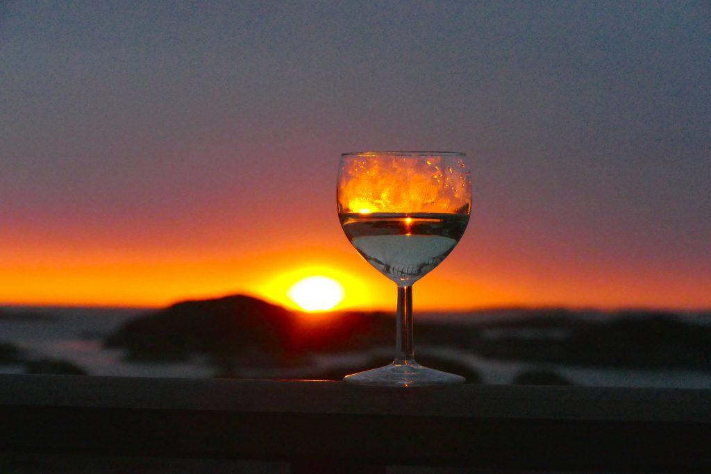 Solnedgangen nytes fra terrassen